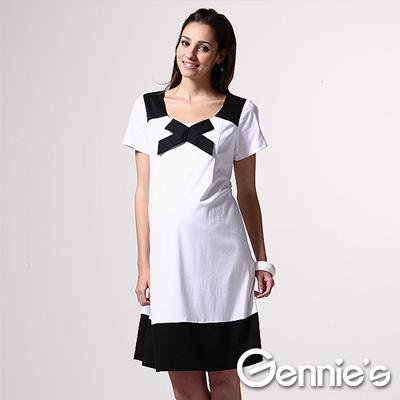【Gennie's奇妮】優雅氣息雙色拼接春夏孕婦洋裝-白(C1X22)