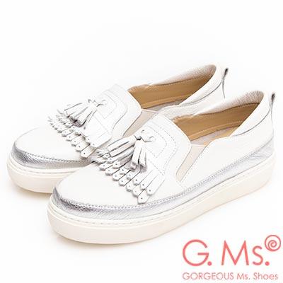 G-Ms-MIT系列-流蘇拼接雙色牛皮厚底休閒鞋