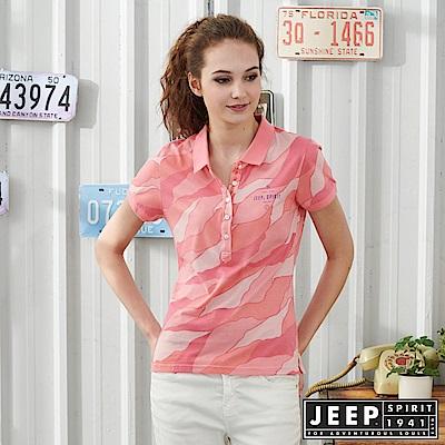 JEEP 女裝 幾何線條混搭POLO衫-粉色