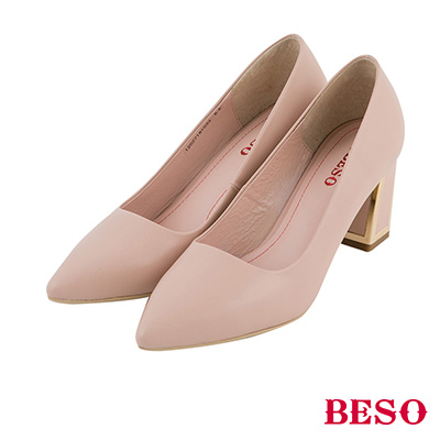 BESO  都會知性 簡約高質感全真皮金屬粗跟鞋~粉紅