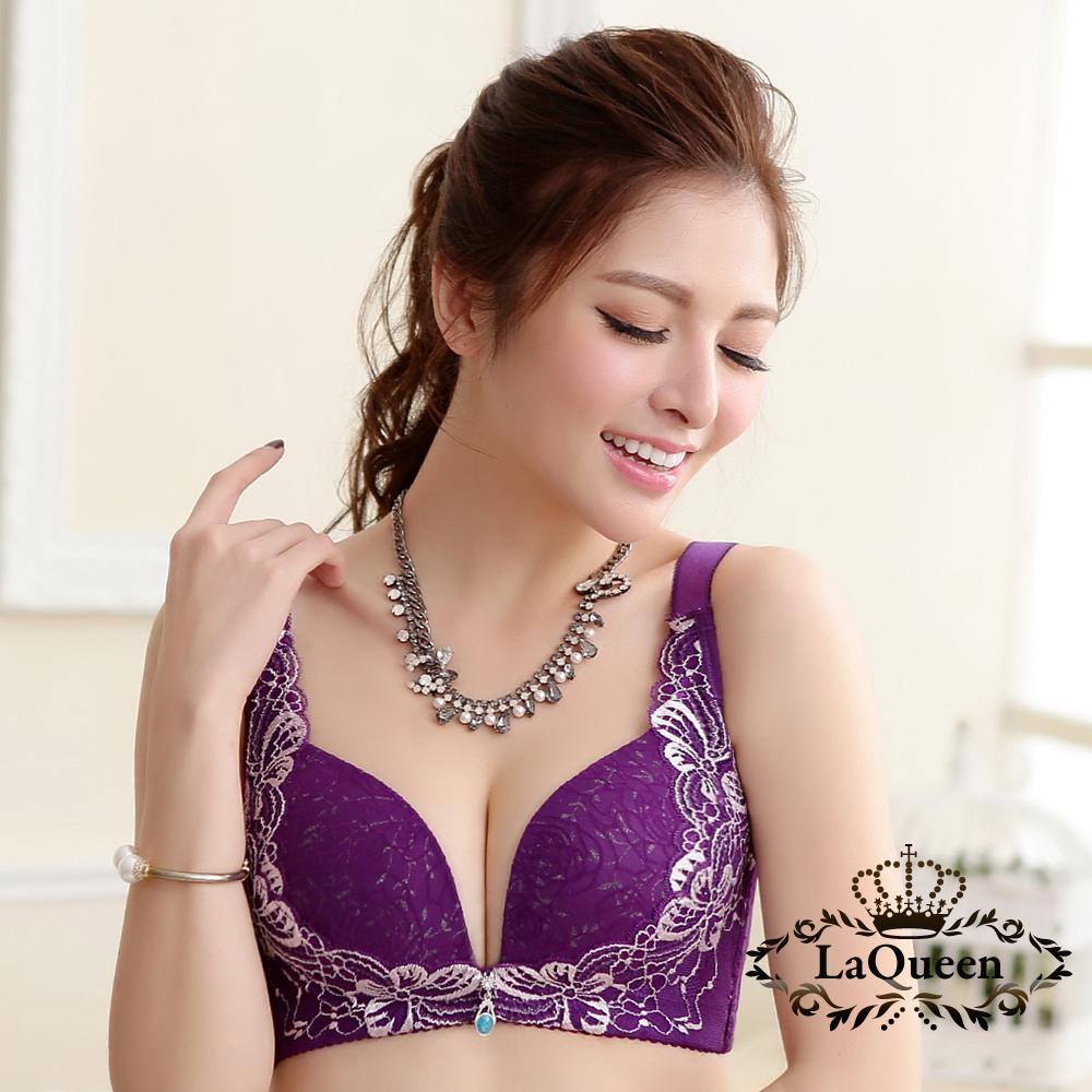 內衣  美型貓眼立體罩杯無鋼圈成套內衣-紫 La Queen