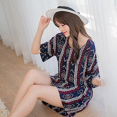 民族風圖騰印花七分連袖縮腰洋裝.2色-OB大尺碼
