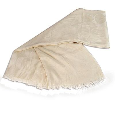 COACH 經典緹花C LOGO流蘇披巾絲巾圍巾(大/象牙白)