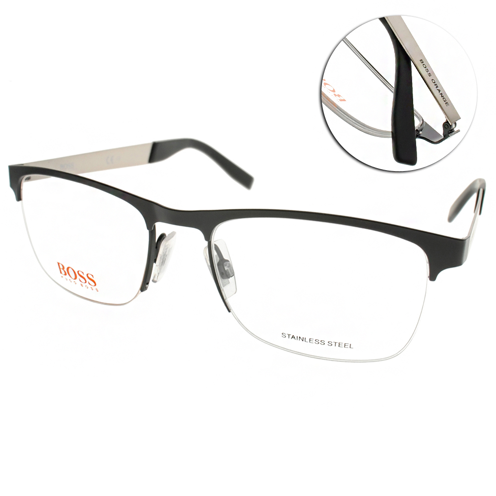 BOSS ORANGE眼鏡 時尚半框款/黑-銀#BR0227 92K