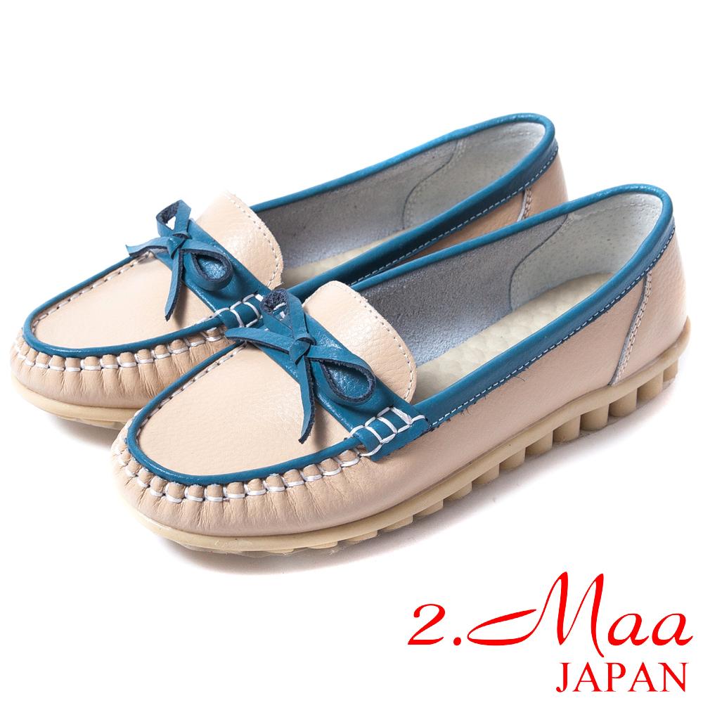 2.Maa 真皮系列-柔軟舒適‧經典百搭超柔軟蝴蝶結飾扣牛皮莫卡辛鞋--氣質白