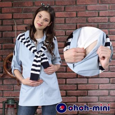 ohoh-mini 孕婦裝 日式風格落肩袖孕哺上衣-2色