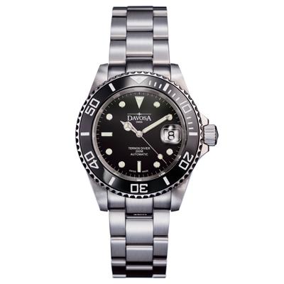 DAVOSA Ternos Ceramic 200米陶瓷框潛水腕錶-黑/40mm