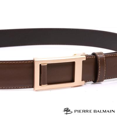 PB皮爾帕門-雙車邊土豪金-頭層牛皮自動扣皮帶-500
