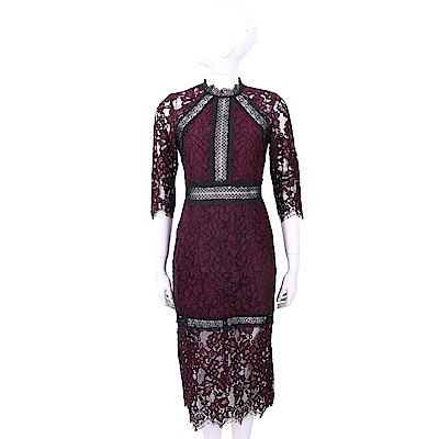 ALEXIS 小立領蕾絲織花酒紅色七分袖洋裝