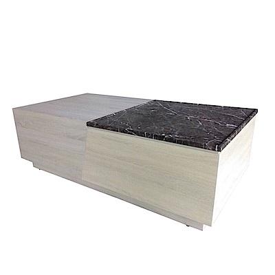 品家居 布拉德4.7尺黑岩石面大茶几-140x70x46cm免組