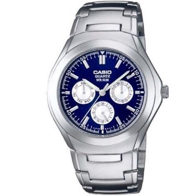 CASIO 簡約都會風三眼指針錶(MTP-1247D-2A)-白圈底藍/39.9mm