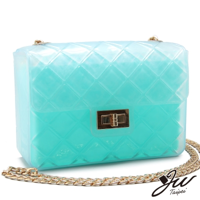 JW-甜蜜彩虹糖繽紛鍊帶側背方包-松石綠-快