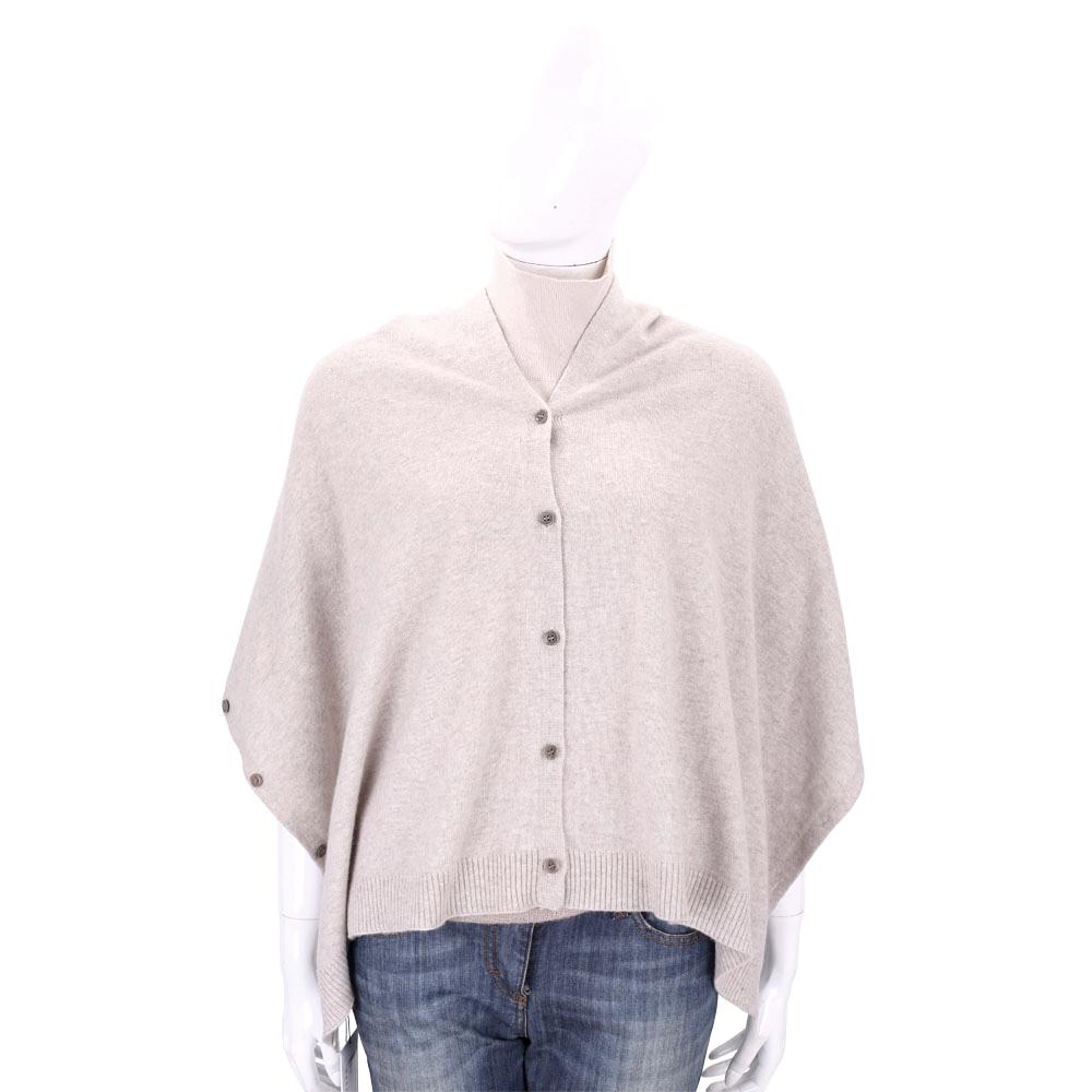 ALLUDE 卡其色排釦設計羊毛罩衫/披肩(70%WOOL)