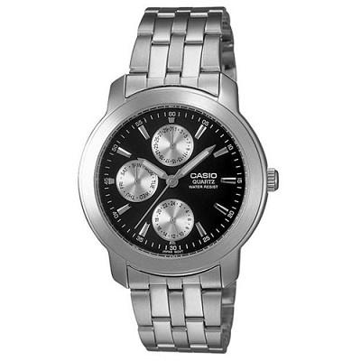 CASIO 簡潔時尚三眼指針錶(MTP-1192A-1A)-黑/37mm