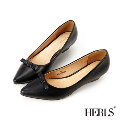 HERLS 氣質首選 OL小心機蝴蝶結楔型鞋-黑色