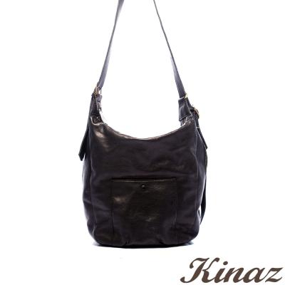 KINAZ-Truly真實色假期-微醺愛情牛皮斜揹包-黑