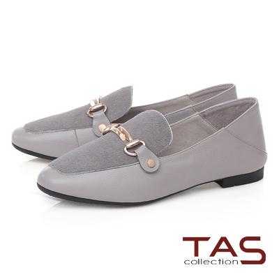 TAS 金屬飾扣馬毛拼接踩腳樂福鞋-質感灰