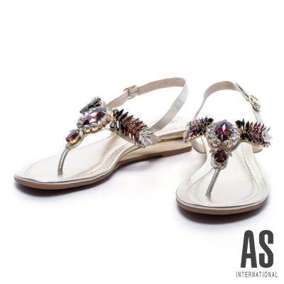 涼鞋 AS 華麗寶石水鑽T字羊皮厚底涼鞋-金