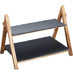 Master 木架+雙層磐石點心盤(40cm)