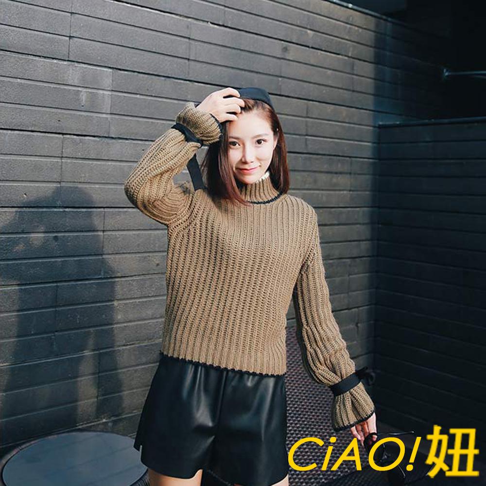 綁帶喇叭袖純色高領毛衣 (墨綠色)-CiAO妞