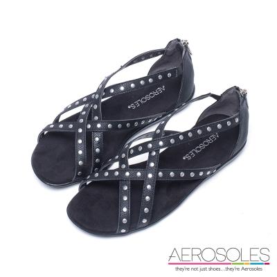 AEROSOLES-幾何交叉鏤空鉚釘後拉式涼鞋-黑