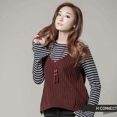 H-CONNECT-韓國品牌-女裝-條紋針織背心-紅