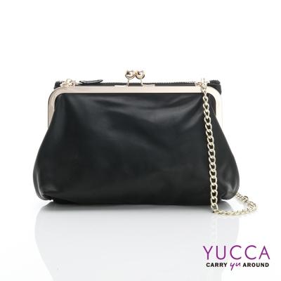 YUCCA - 軟牛皮復古轉釦拉鍊雙層鍊帶包-黑色-D012701