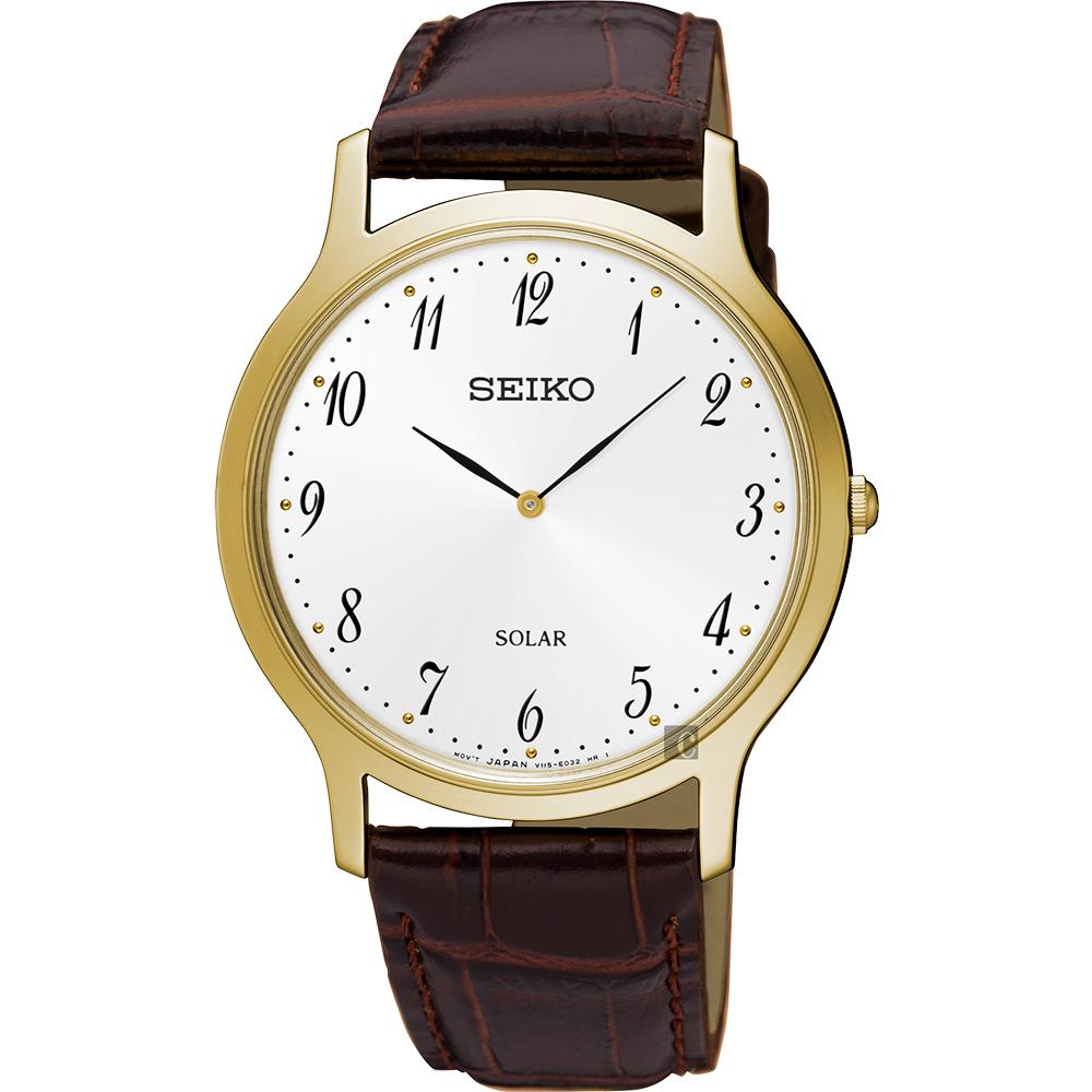 SEIKO精工 SOLAR 太陽能簡約手錶(SUP860P1)-銀白x金框/38mm