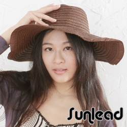 Sunlead 防曬寬帽緣。名模款抗UV時尚圓頂遮陽帽 (咖啡色)