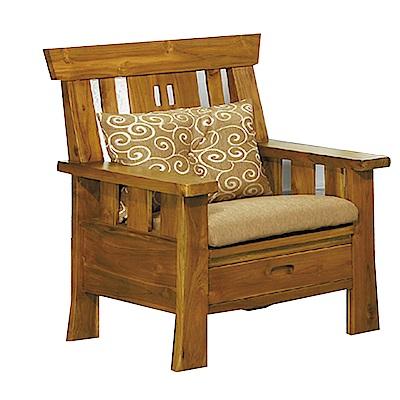 品家居 米格魯柚木實木單人收納椅(不含椅墊)-78x70x101cm-免組