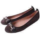 TOD'S 雙T金屬設計芭蕾平底鞋(灰褐色)
