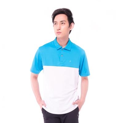 【hilltop山頂鳥】男款抗UV吸濕排汗抗皺彈性POLO衫S14MD6-藍/白