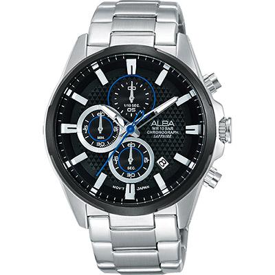 ALBA ACTIVE 活力運動型男計時腕錶(AM3343X1)-黑/42mm