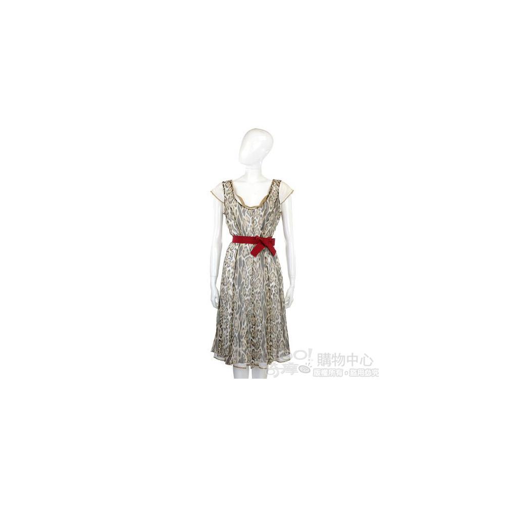 NINA 淺咖色動物紋紗質洋裝(附腰帶)