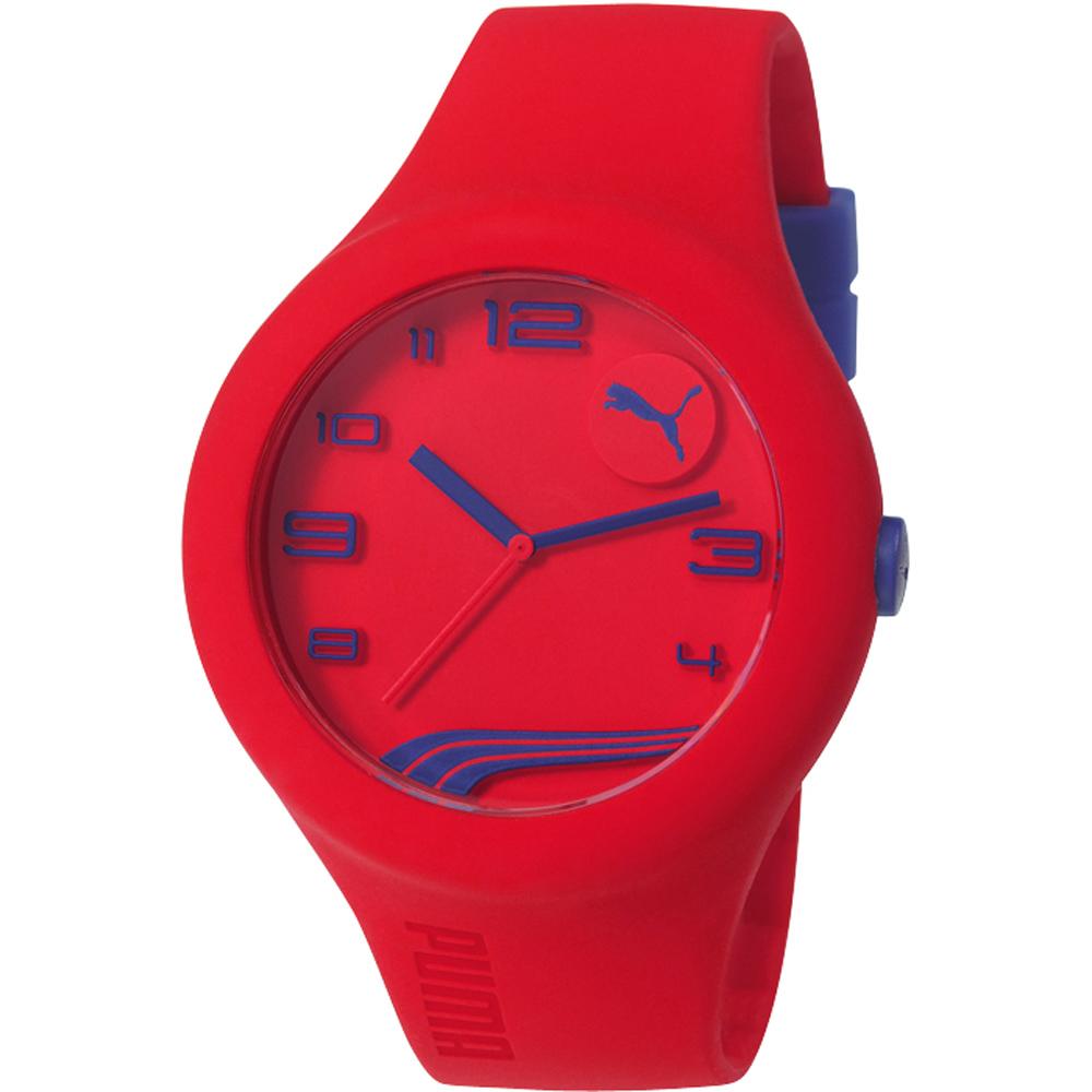 PUMA 動感延伸運動腕錶-紅x藍字/47mm