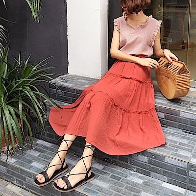 La Belleza素色鬆緊腰棉麻蛋糕裙中長裙