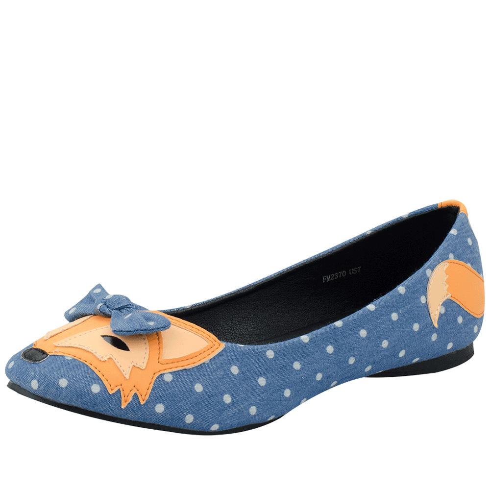 TUK點點小狐狸娃娃鞋-藍