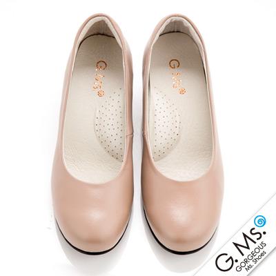 G-Ms-MIT系列-通勤必備全真皮素面小粗跟鞋-甜蜜粉