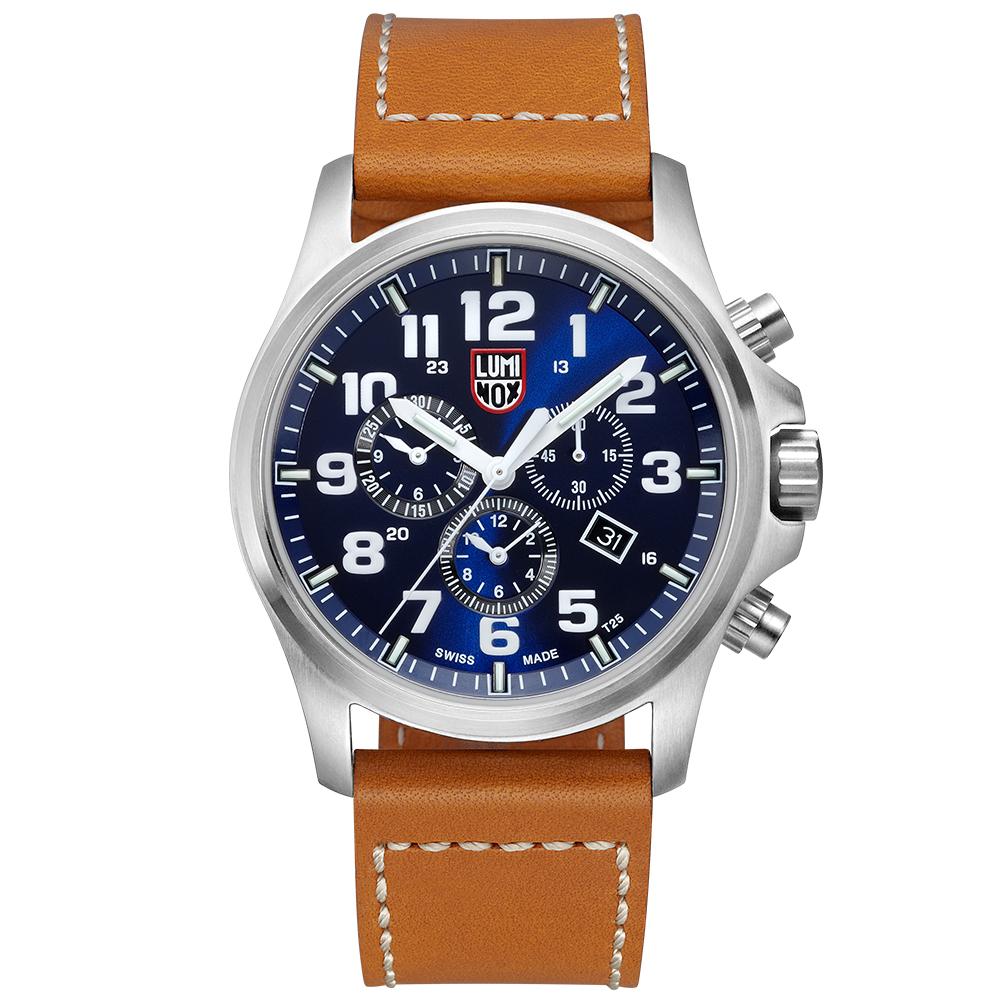 LUMINOX 雷明時ATACAMA戰場系列藍寶鏡面三眼鬧鈴腕錶-藍x白時標/45mm