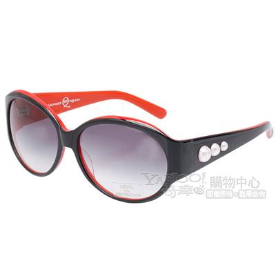 ALEXANDER-McQUEEN-100-抗UV珍珠造型太陽眼鏡-黑X紅