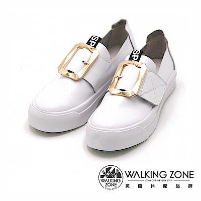Walking Zone 真皮 方扣環小白鞋 便鞋 樂福鞋-白
