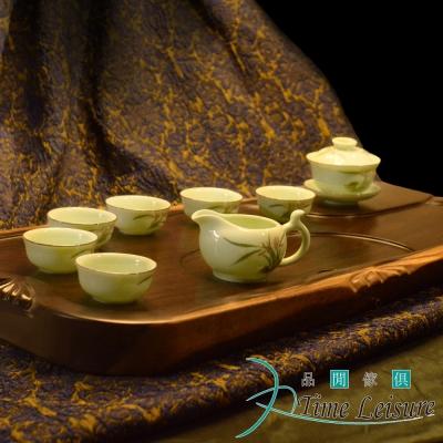 Time Leisure 品閒 蘭花錦鯉 手繪青瓷浮雕禮盒茶具(10件組) (8H)