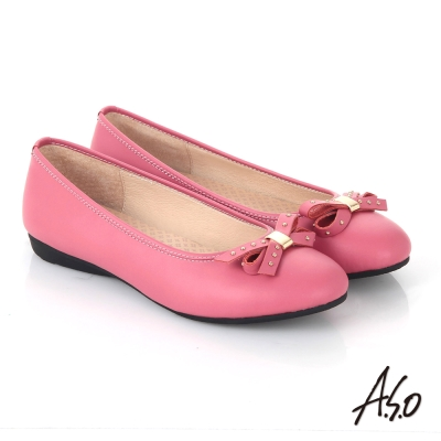 A.S.O舒適通勤 全真皮鉚釘蝴蝶結飾奈米平底鞋 桃粉紅