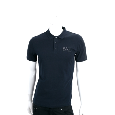 EMPORIO ARMANI 夜藍色EA7標誌棉質短袖POLO衫