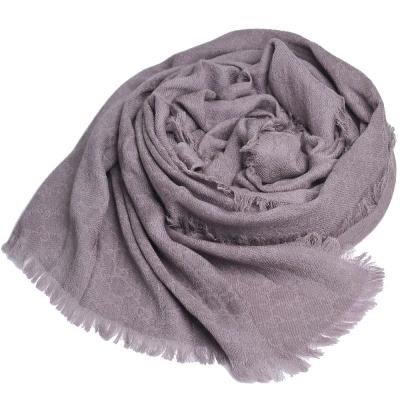 GUCCI ST CAL. 經典GG LOGO羊毛混絲寬版披肩/圍巾(灰褐/200x70)