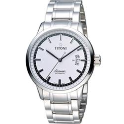 TITONI Airmaster 空霸 Day-Date 機械腕錶-白/41mm