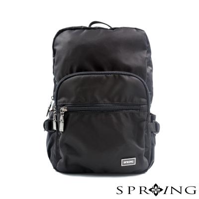 SPRING-悠活輕遊尼龍後揹包-經典黑