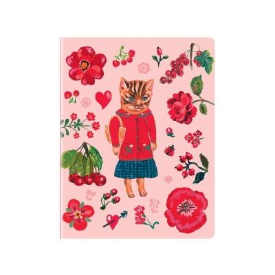 7321 Design NL娜塔莉塗鴉條紋筆記本L-少女貓