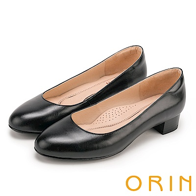 ORIN 簡約時尚OL 圓尖素面嚴選牛皮粗低跟鞋-黑色