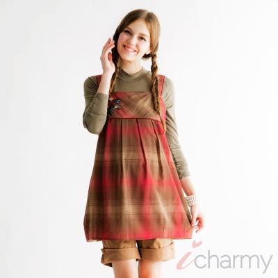 愛俏咪I charmy 甜美質i感吊帶紅咖啡格紋側拉鍊背後綁帶寶石背心洋裝